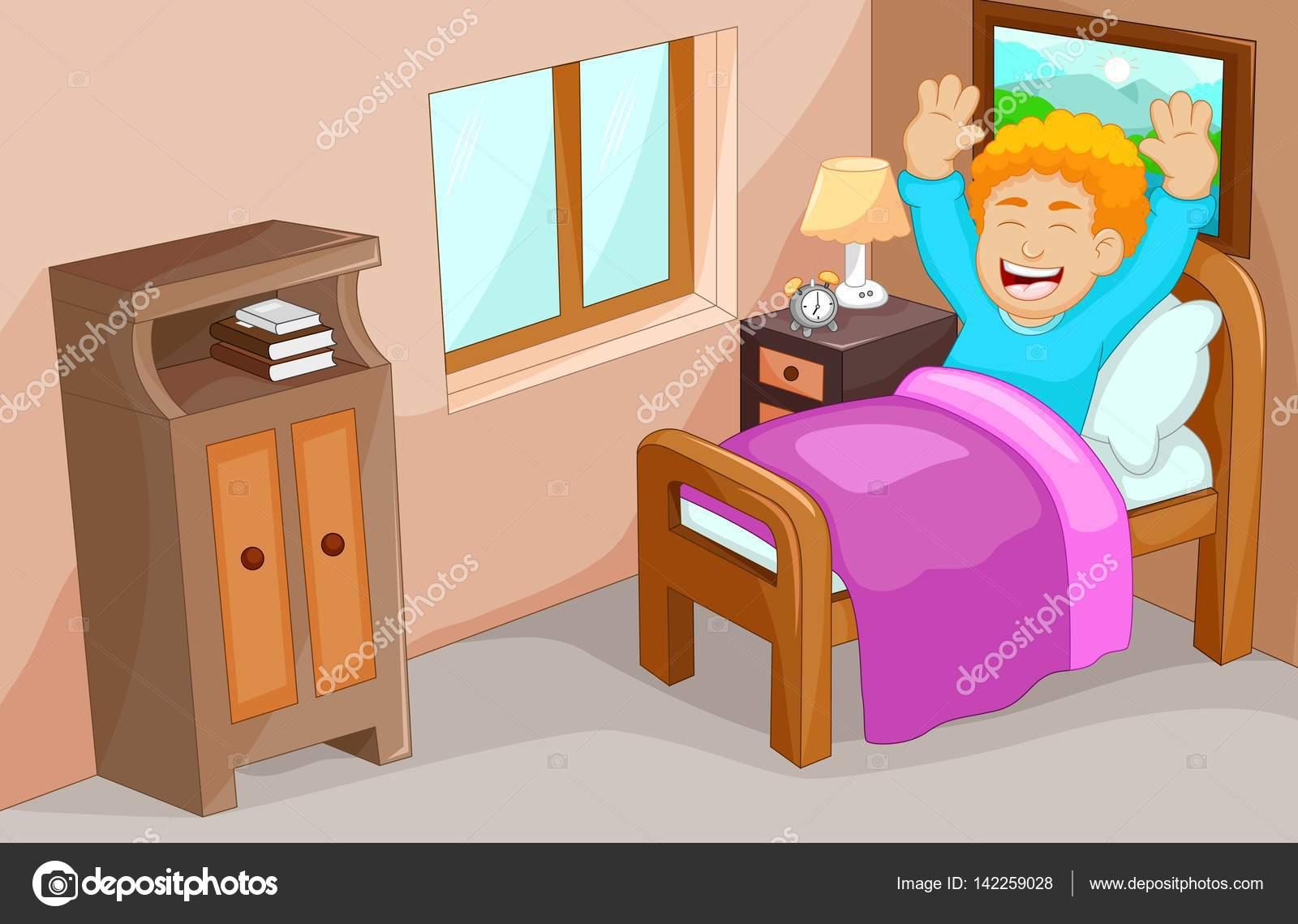 Cute little boy cartoon wake up in the bedroom stock for Dormitorio animado