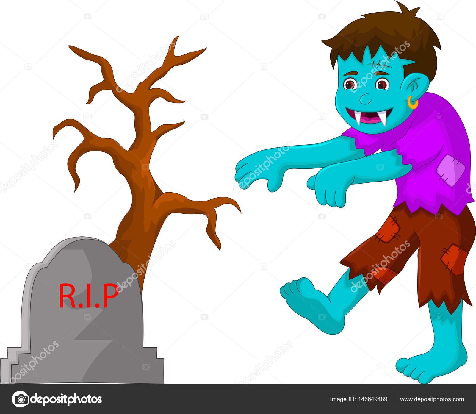 zumbi de desenho animado andando no cemitério vetores de stock