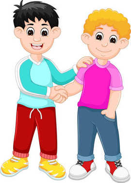 two kids shaking hands cartoon