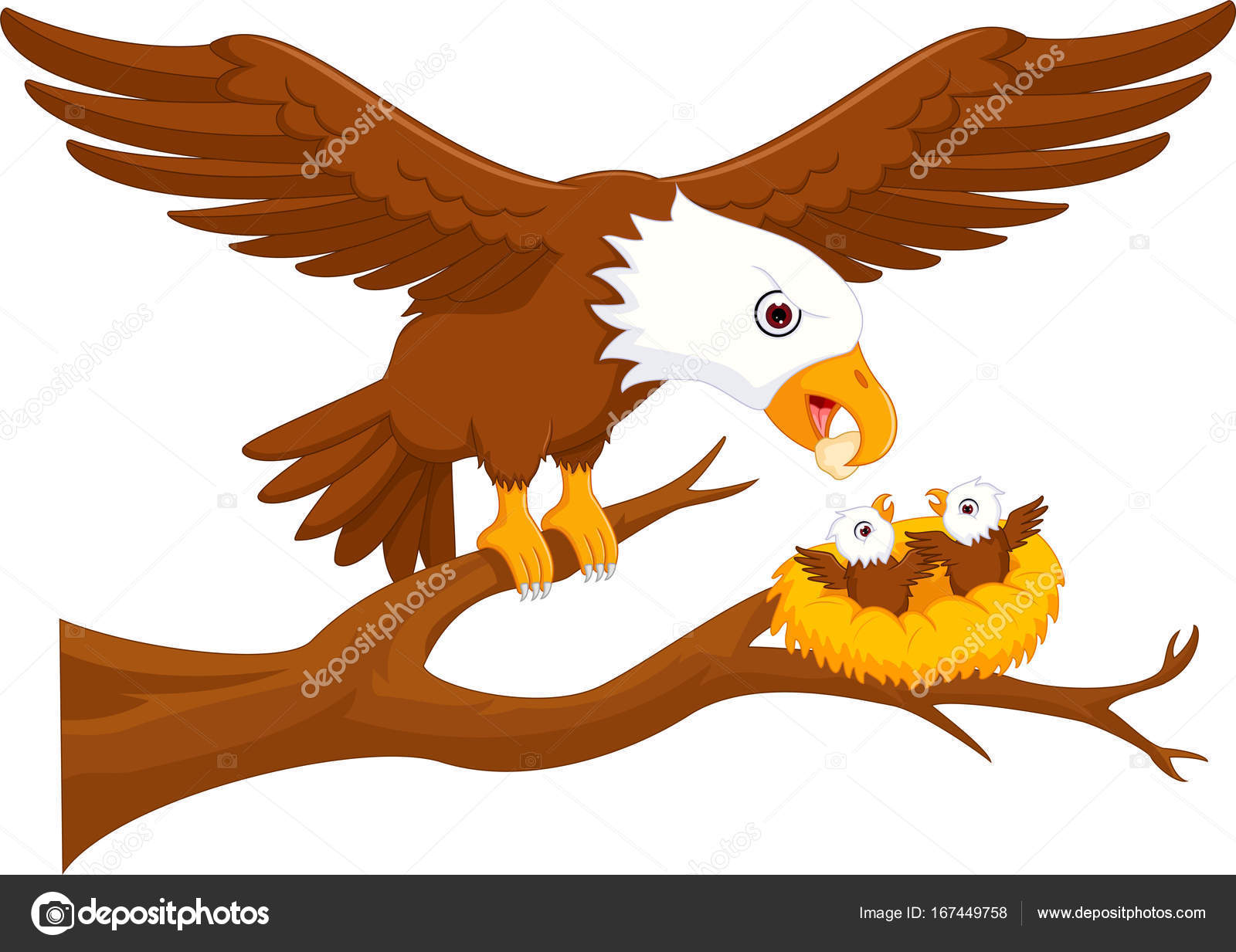 familia feliz de dibujos animados de águila árbol — Foto de stock ...