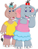 friendship of elephants and hippo cartoon standing with embarce