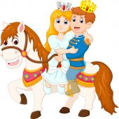 sweet king and queen cartoon up horse with smile happiness