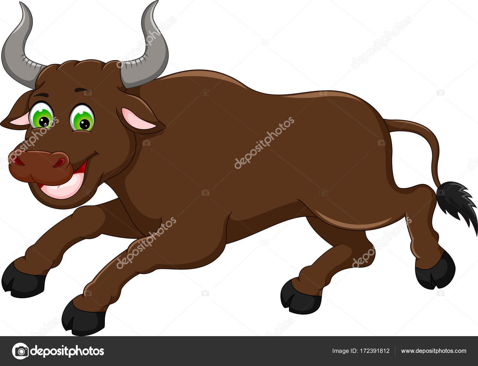 Cartone animato carino toro eseguita con sorridente u foto stock