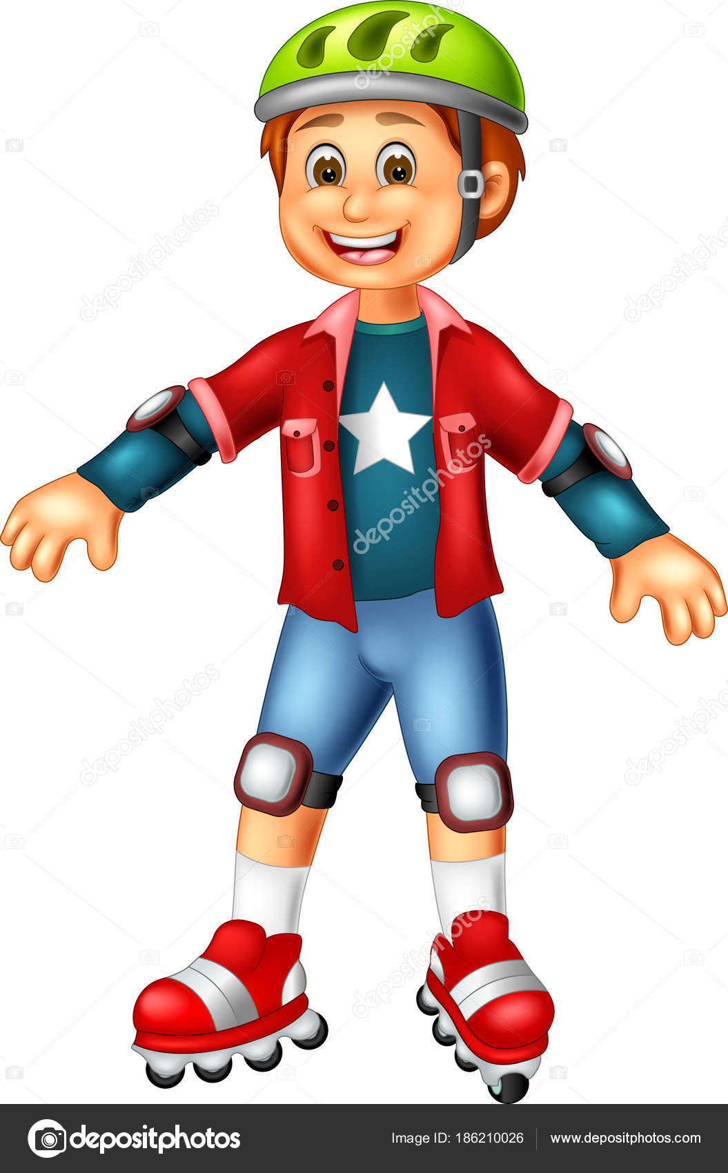 Cute Boy Cartoon Standing Smile Play Roller Skates — Stock Photo