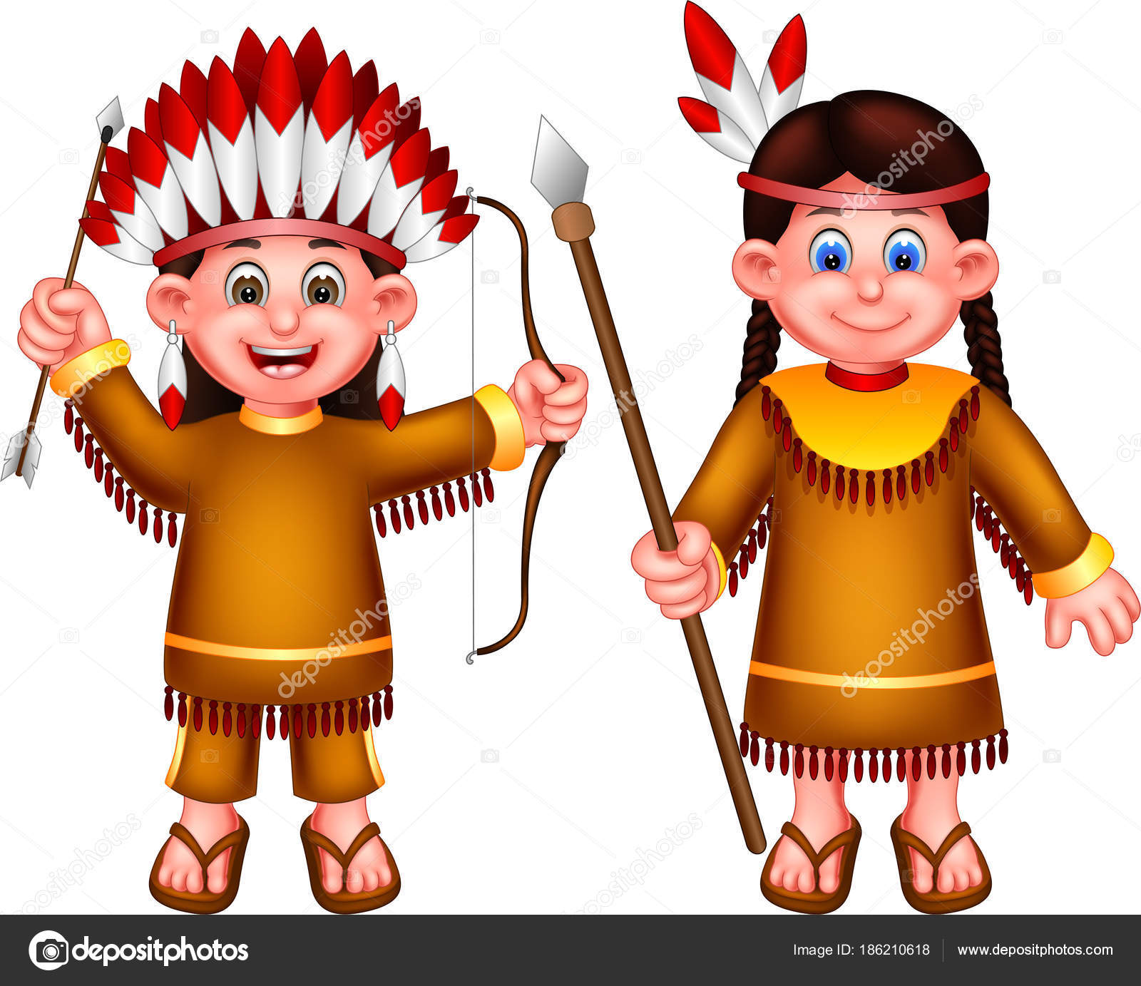 Sweet Indian Girl Cartoon Standing Laughing Bring Weapons