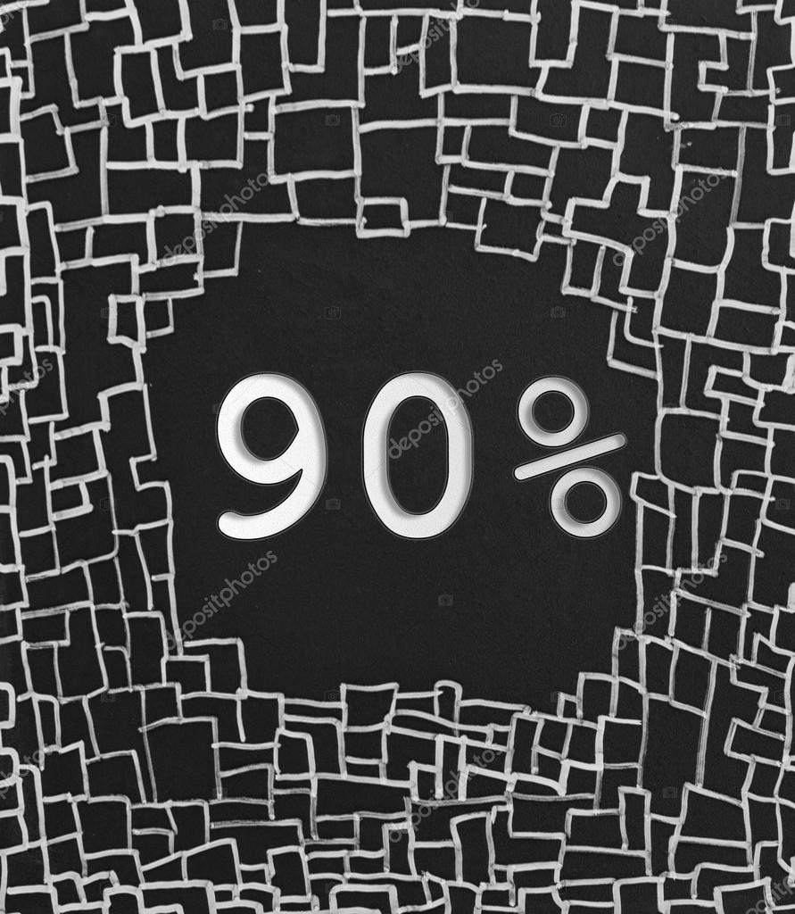 90 % Rabatt geschriebenen Text auf schwarzem Hintergrund abstrakt ...