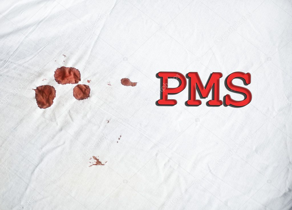 PMS Sign On White Sheet With Blood Stock Photo Trybex 125199956