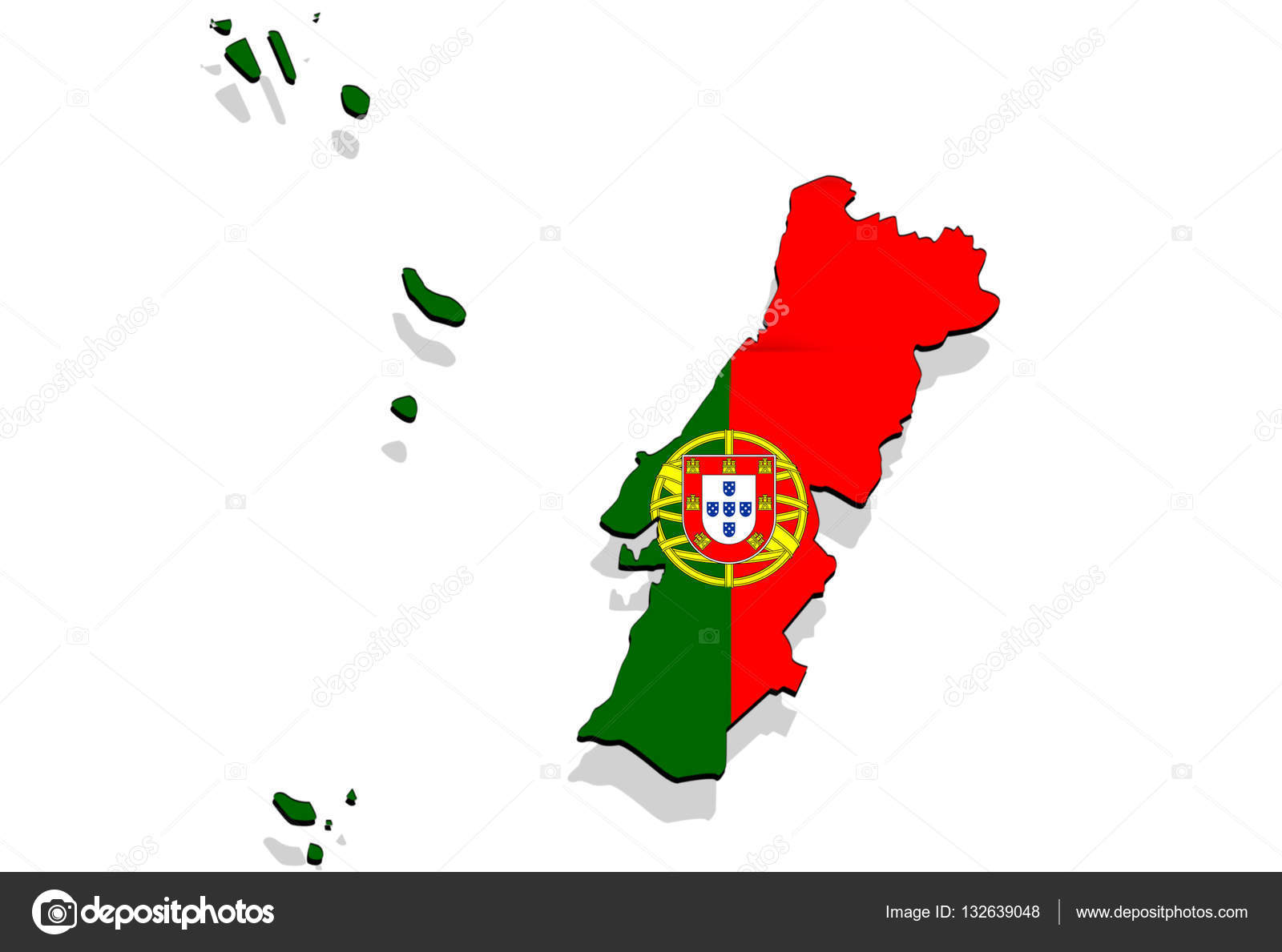Close Up On Portugal Map On White Background Stock Photo
