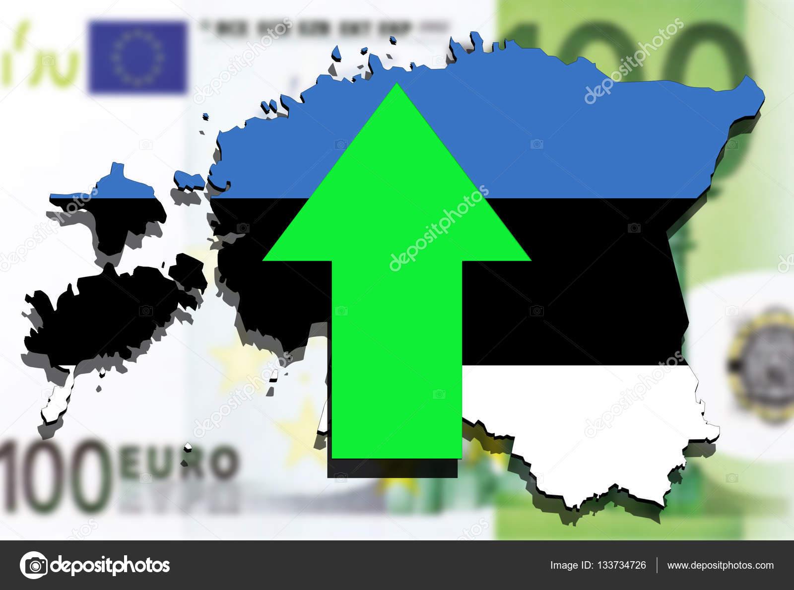 Estonia Map On Euro Money Background Green Arrow Up Stock Photo - Estonia map download
