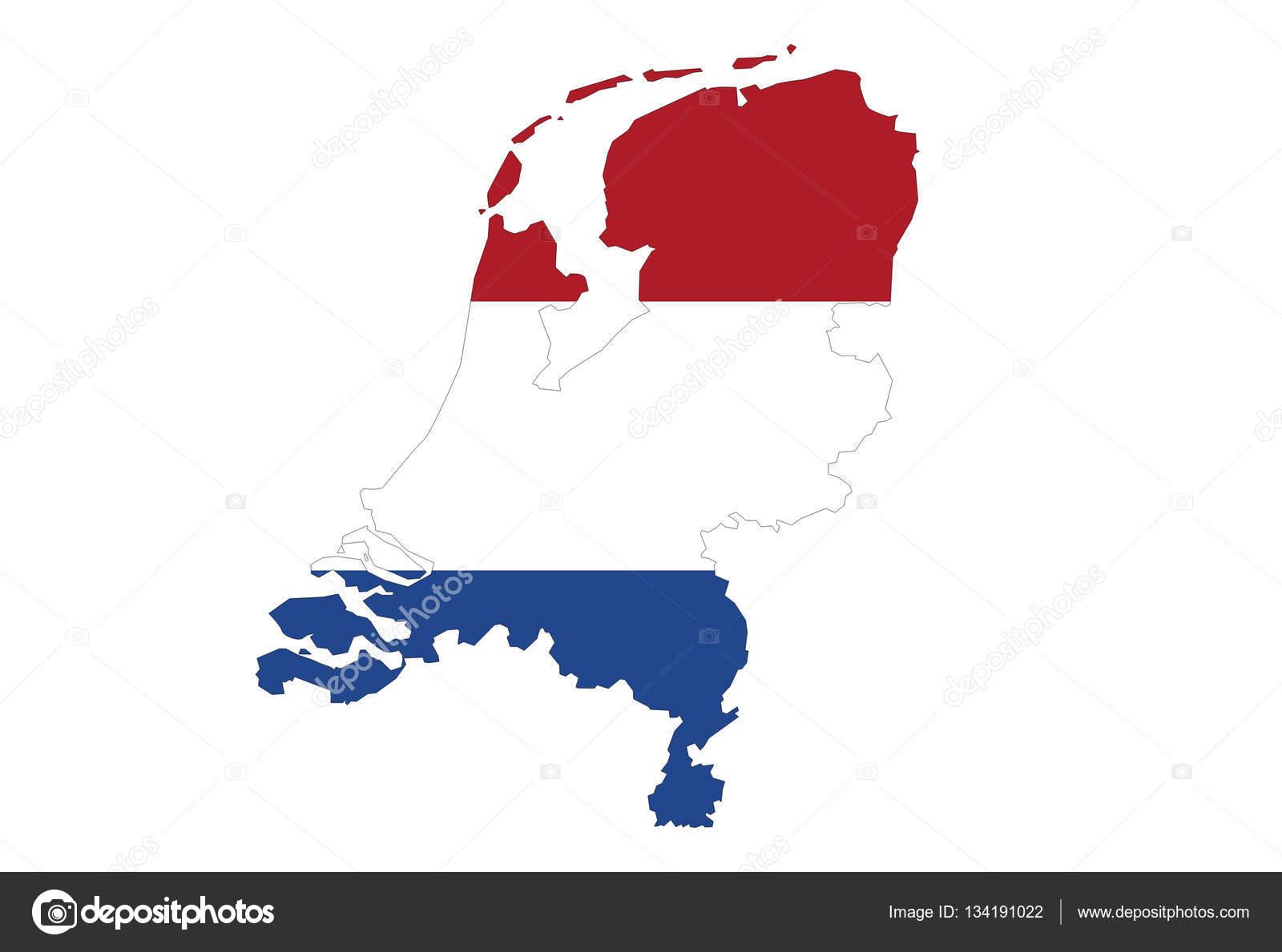 holland térkép zár megjelöl a Holland, Térkép, fehér háttér, nincs árnyék — Stock