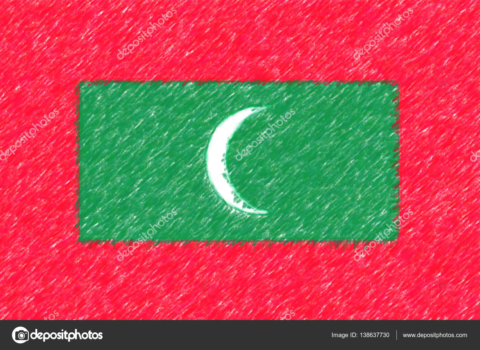 Flag of Maldives background o texture, color pencil effect. — Stock ...