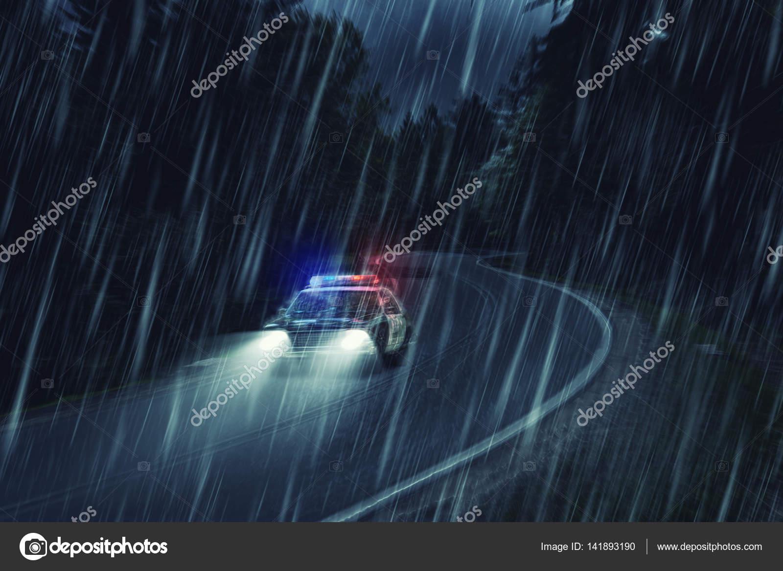Imágenes Con Lluvia En Movimiento Coche De Policía De Estados