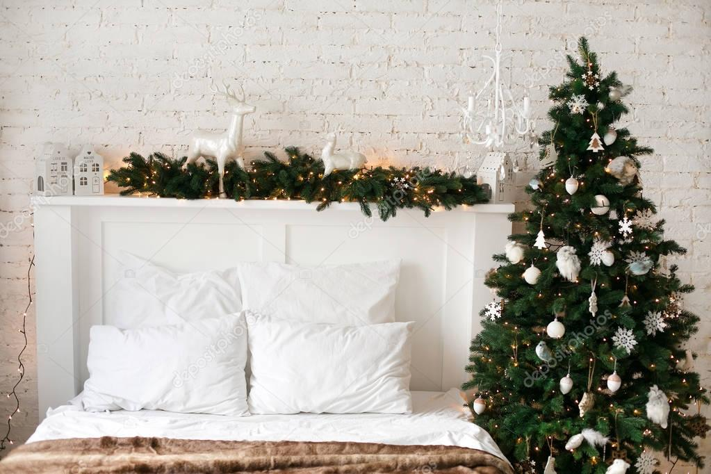Christmas and New Year decorated interior room with presents and