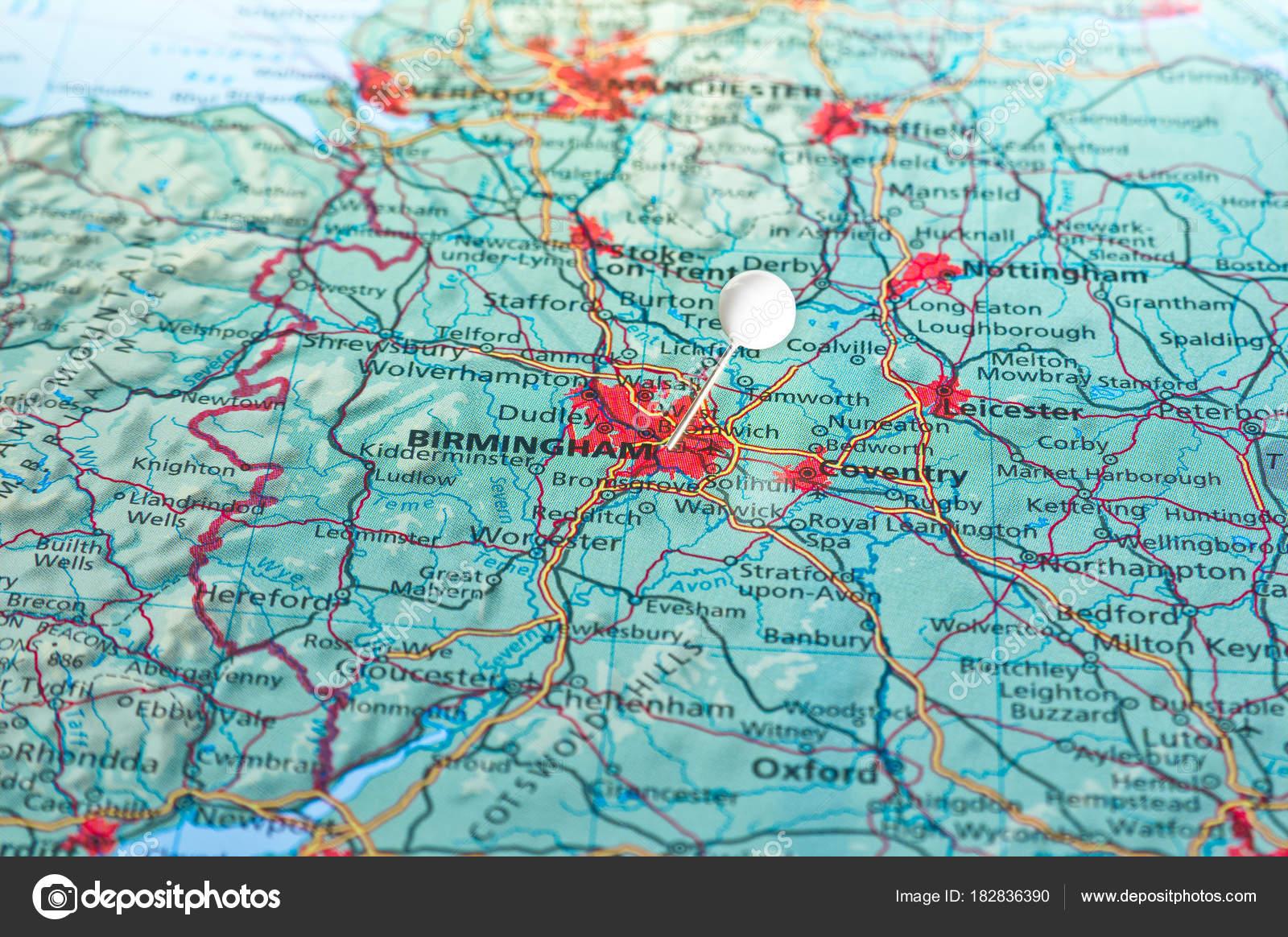 Birmingham Karte.Pin Auf Der Karte Mit Birmingham Stockfoto Eans 182836390