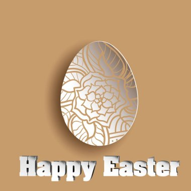 Ornament flower in abstract egg brown