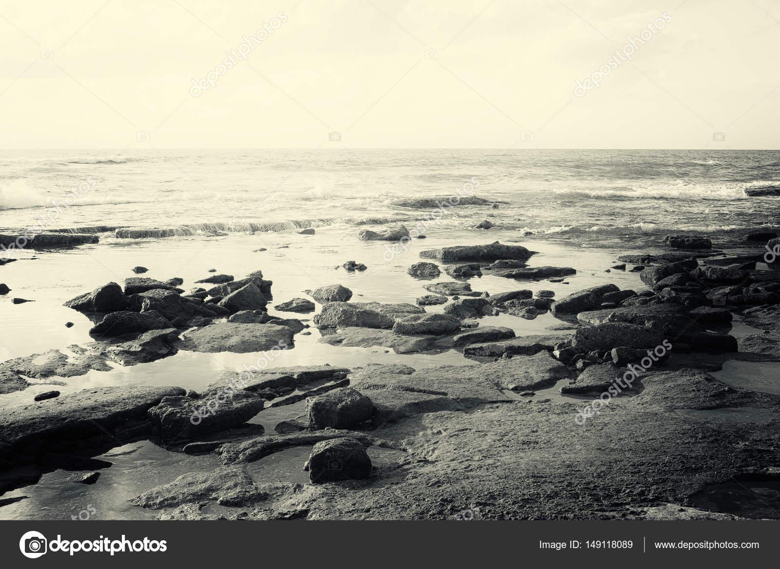 Sfondo Di Spiaggia E Mare Immagine In Bianco E Nero Foto Stock