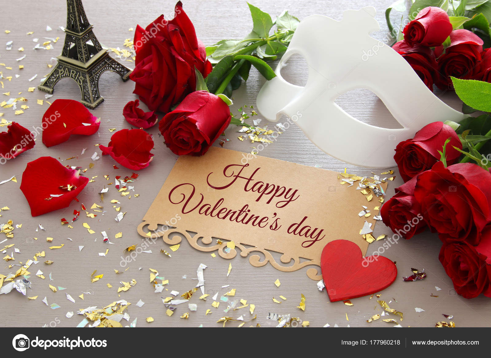 Valentines day romantic background with beautiful bouquet of roses valentines day romantic background with beautiful bouquet of roses and masquerade white mask on wooden table izmirmasajfo
