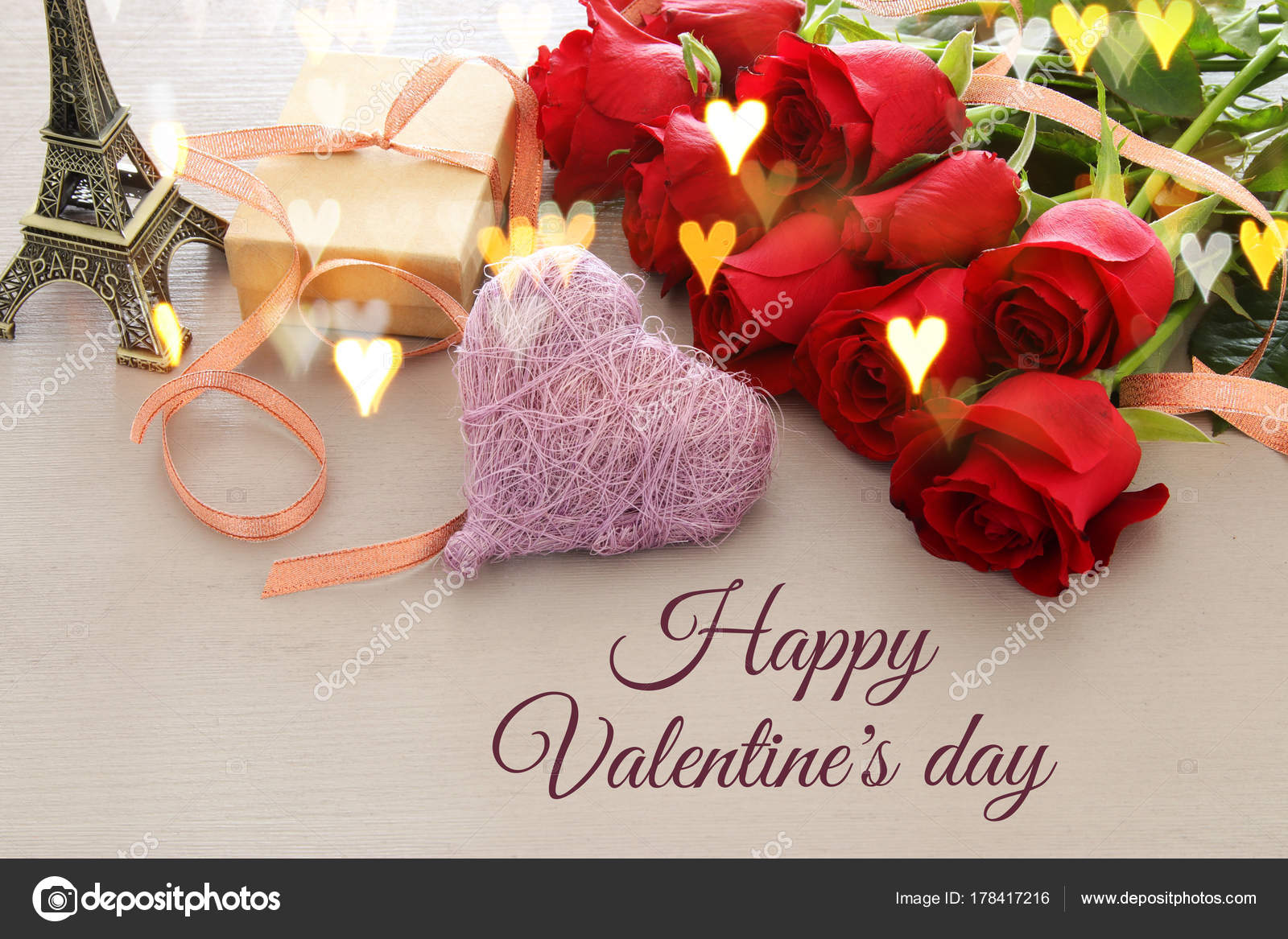 Valentines Day Romantic Background With Beautiful Bouquet Of Roses