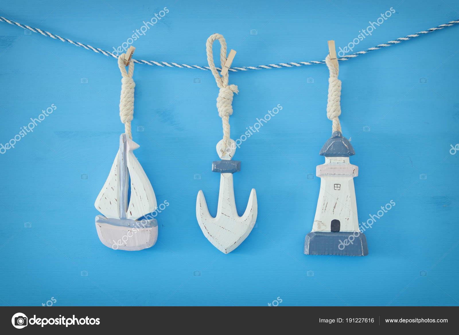 Concetto Di Nautica Con Decorazioni Di Stile Di Vita Di Mare Barca