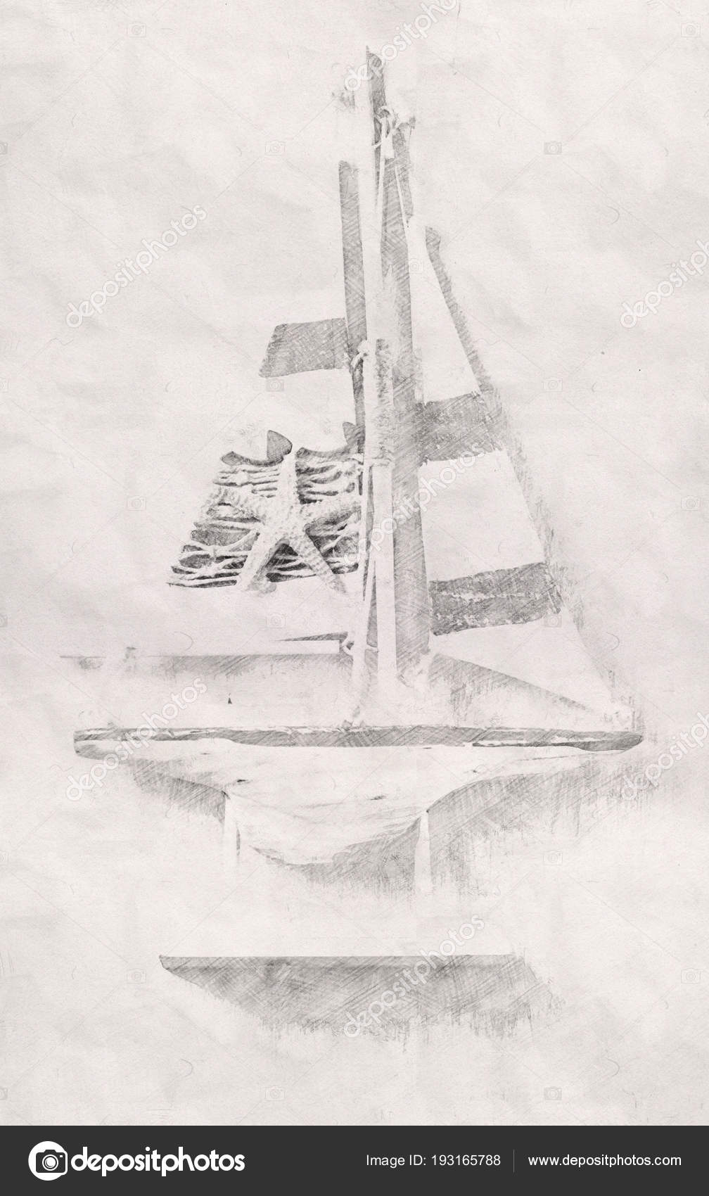 Abstract background of boat pencil sketch painting style black and white photo by