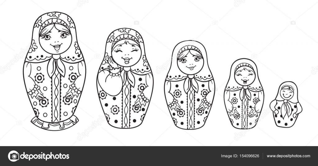 stock illustration russian dolls matrioshka outlined for