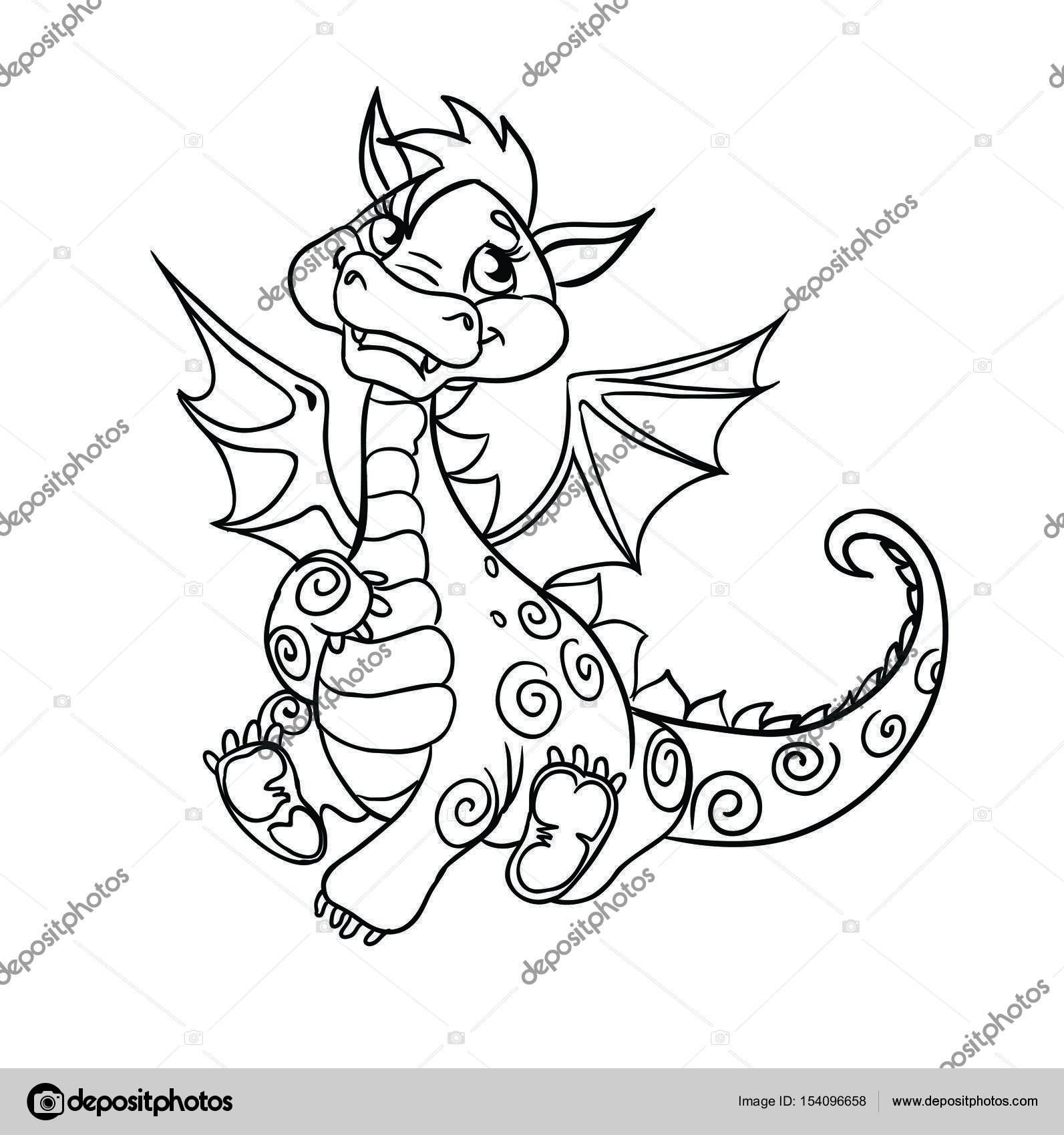 Lindo pequeño dragón se encuentra — Archivo Imágenes Vectoriales ...