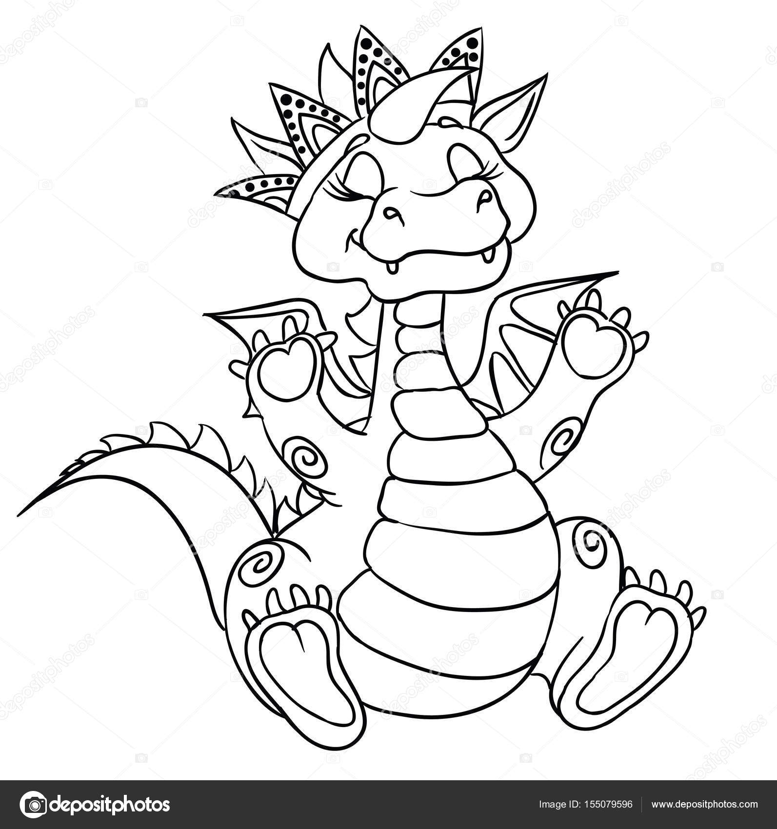 Coloriage Chat Avec Couronne.Page De Coloriage Dragon Couronne Image Vectorielle Efoxly