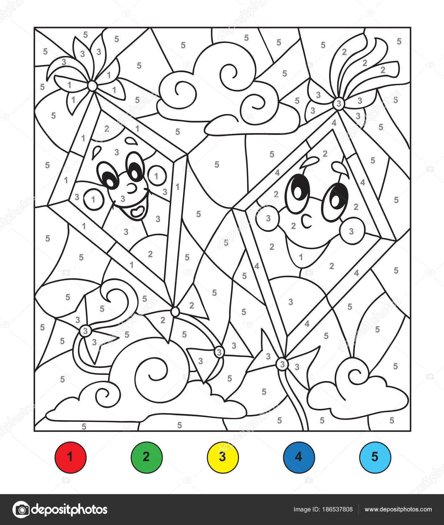 Color by number (Kites). — Stock Vector © efoxly #186537808