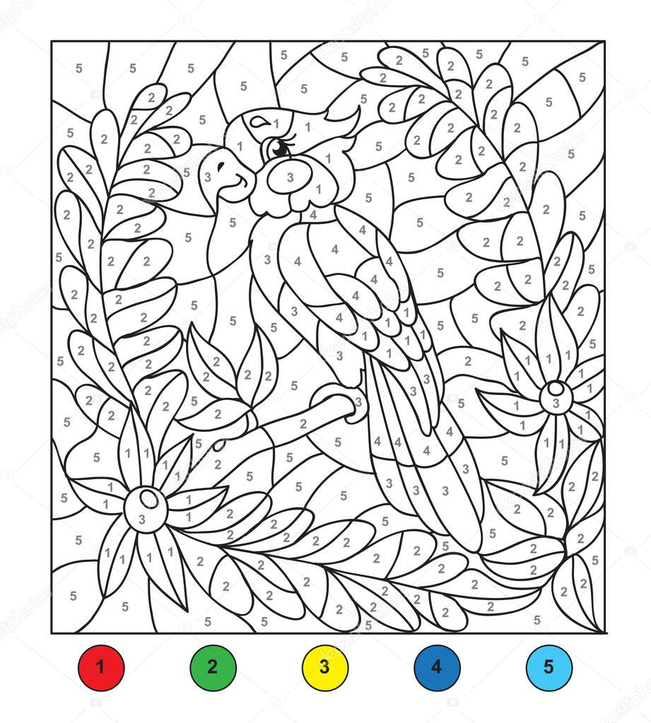 color by number parrot vector de stock 169 efoxly