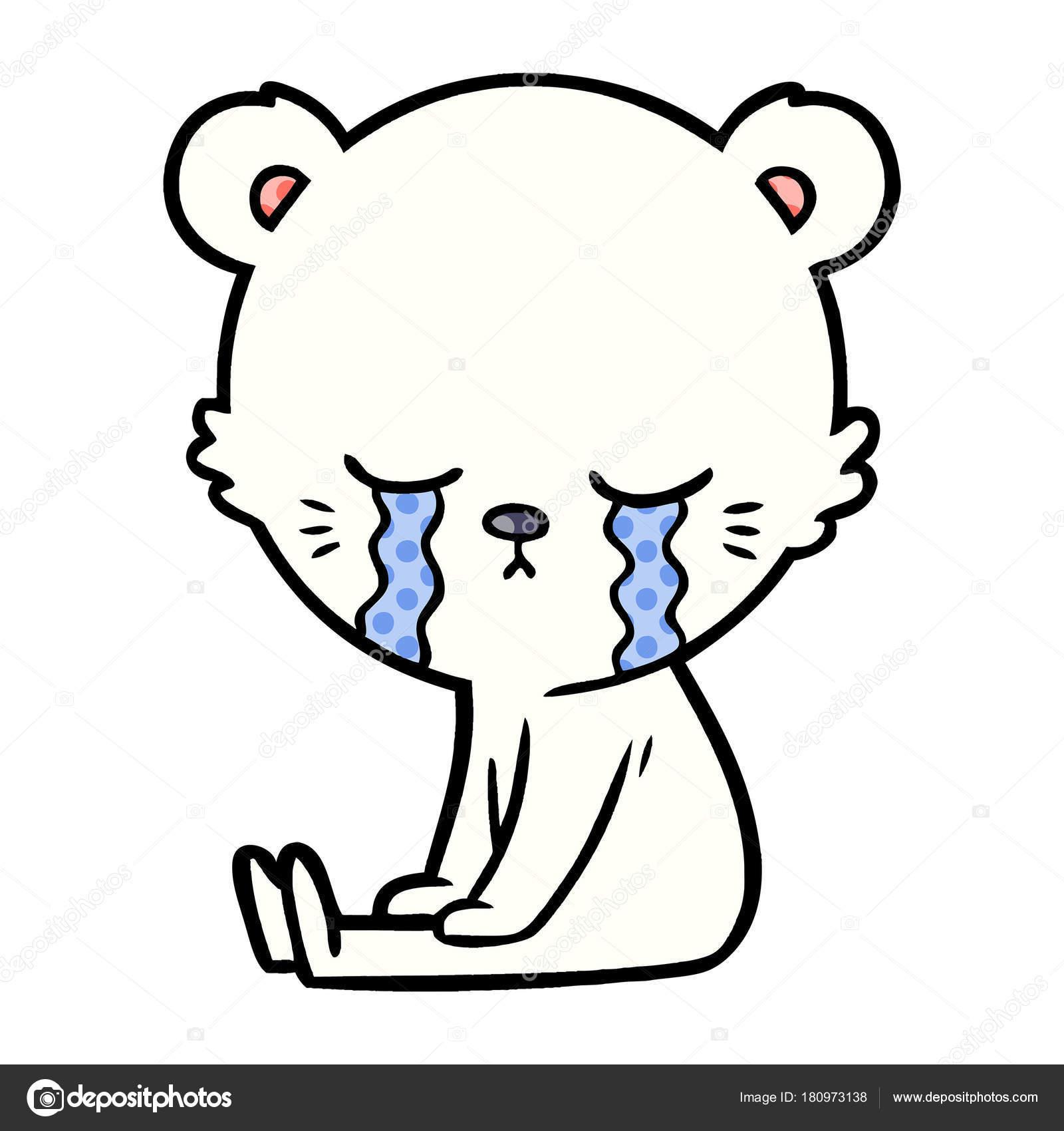 Sad Little Polar Bear Cartoon Stock Vector C Lineartestpilot