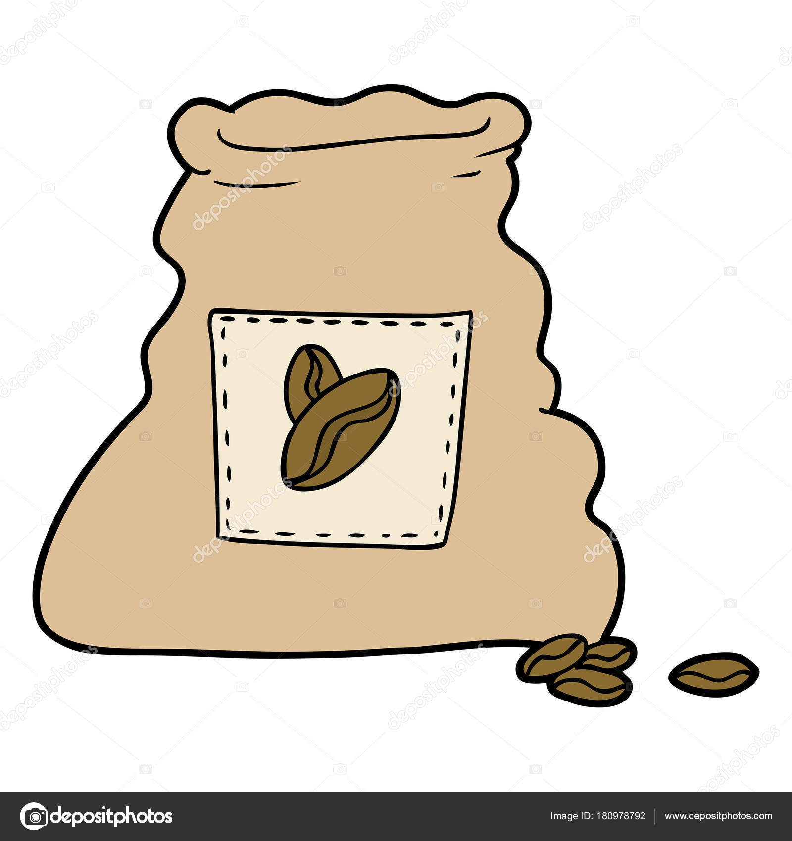 Cartoon Sack Coffee Beans Stock Vector C Lineartestpilot 180978792