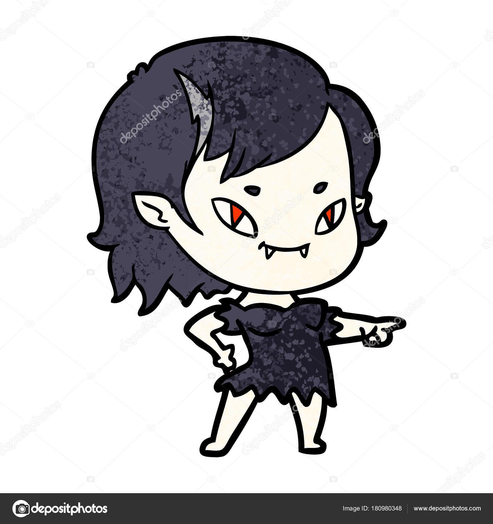 Fille Vampire Amical Dessin Animé Pointage Image