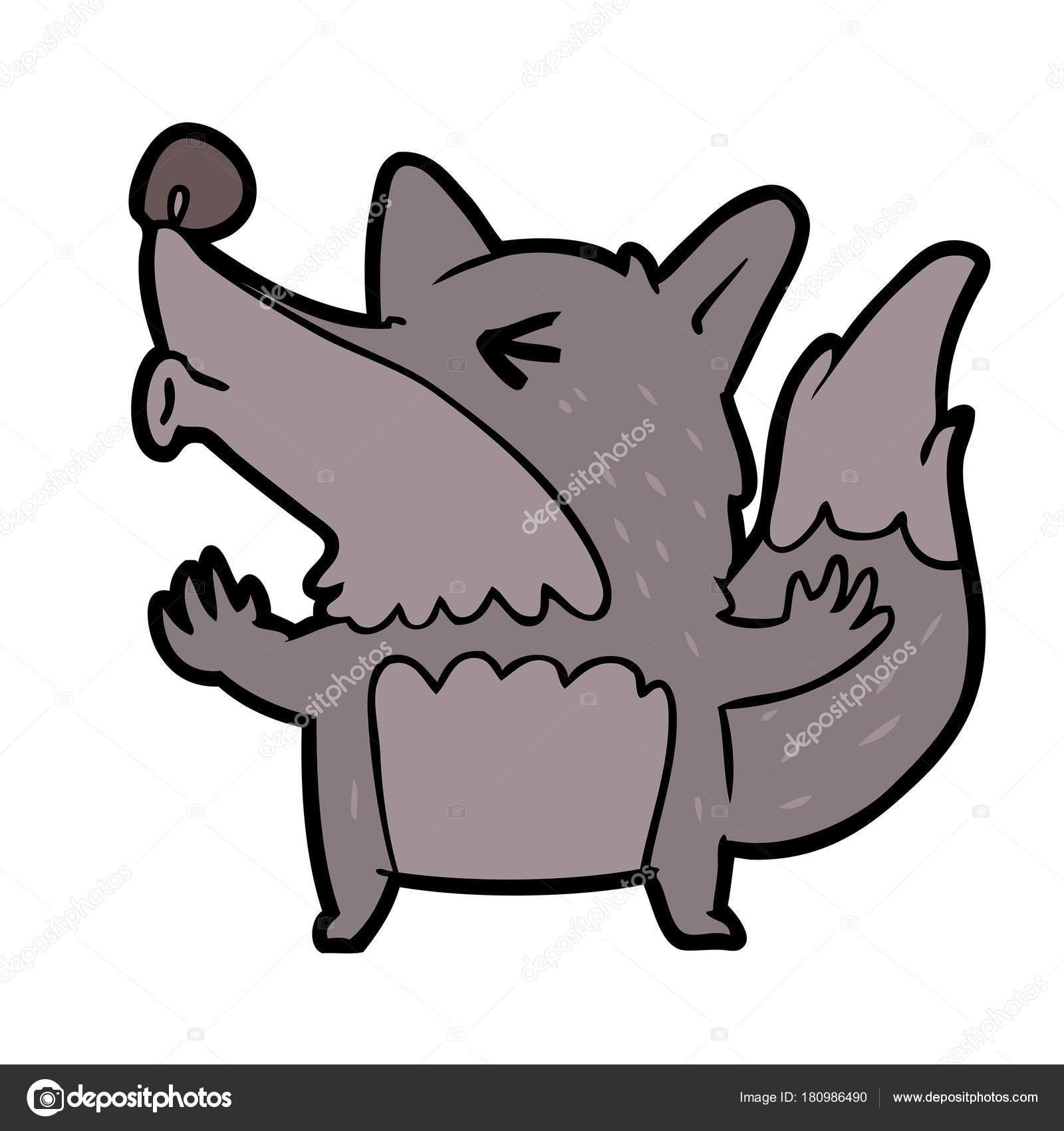 Dessin Anime Loup Garou Halloween Hurlant Image Vectorielle