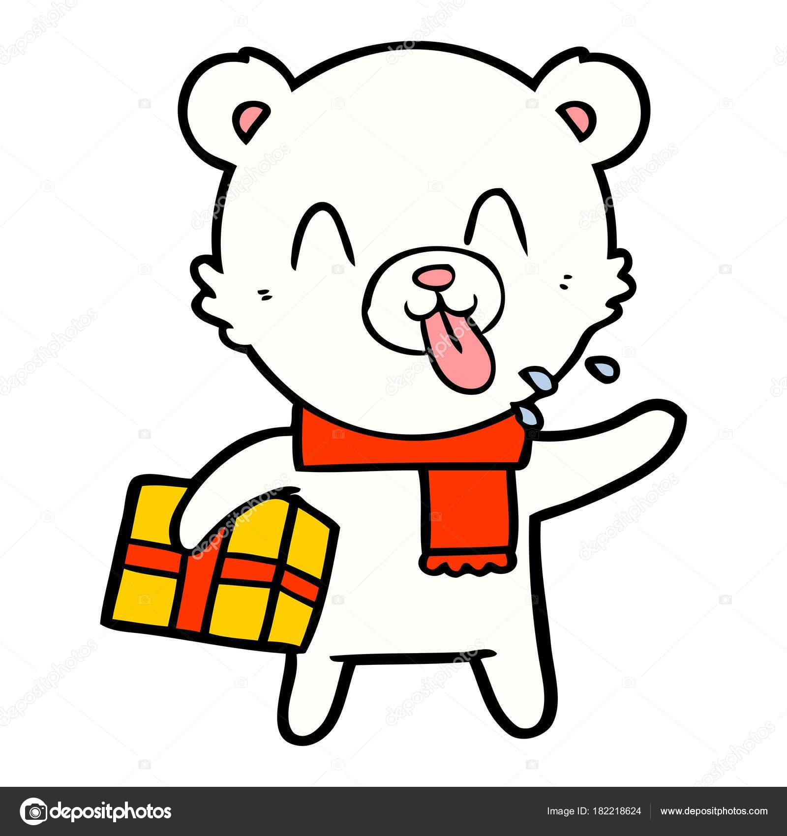 Ours Blanc Avec Dessin Anime Present Noel Image Vectorielle