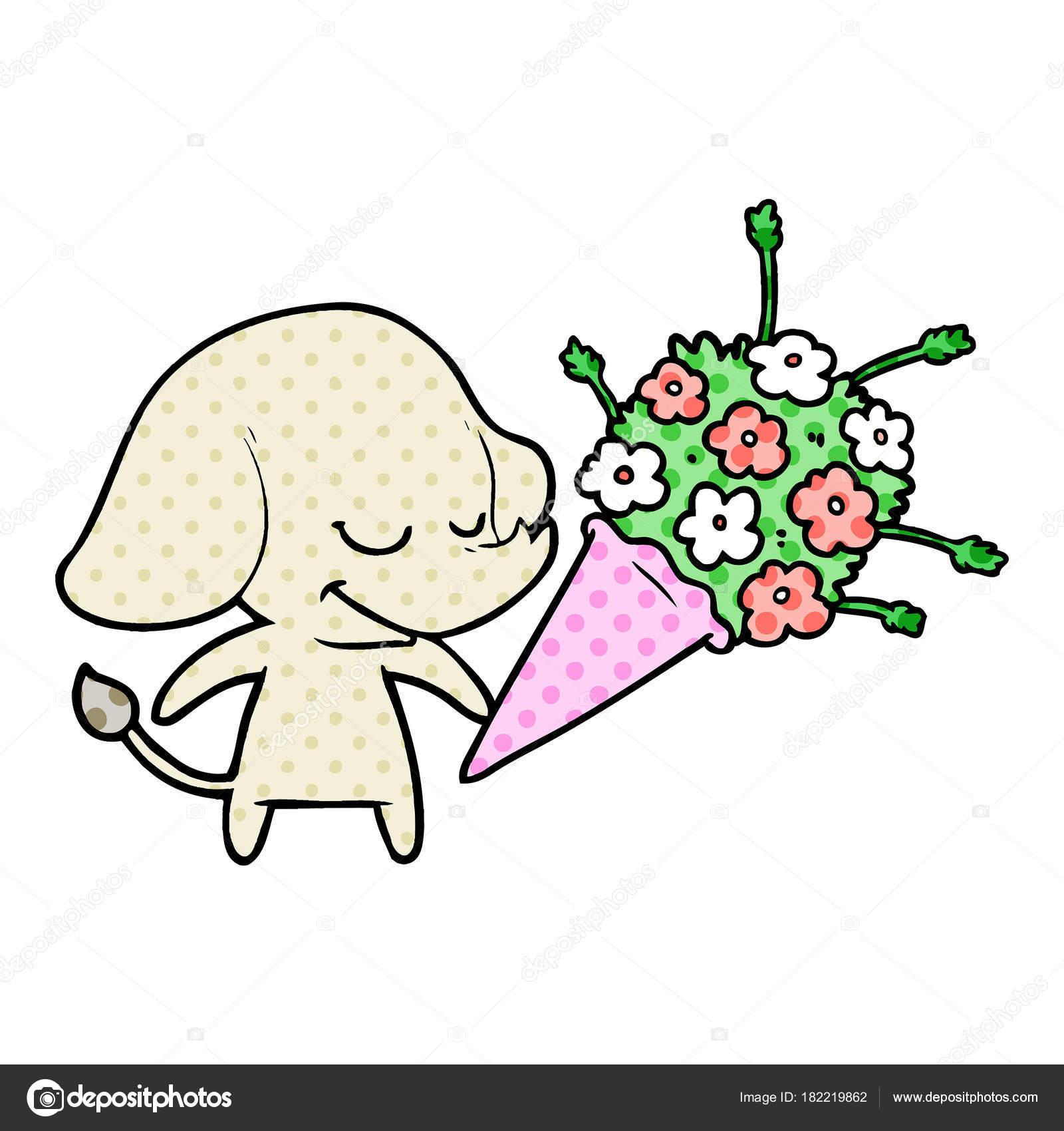 Cartoon Elefant Mit Blumen Lächeln — Stockvektor © lineartestpilot ...