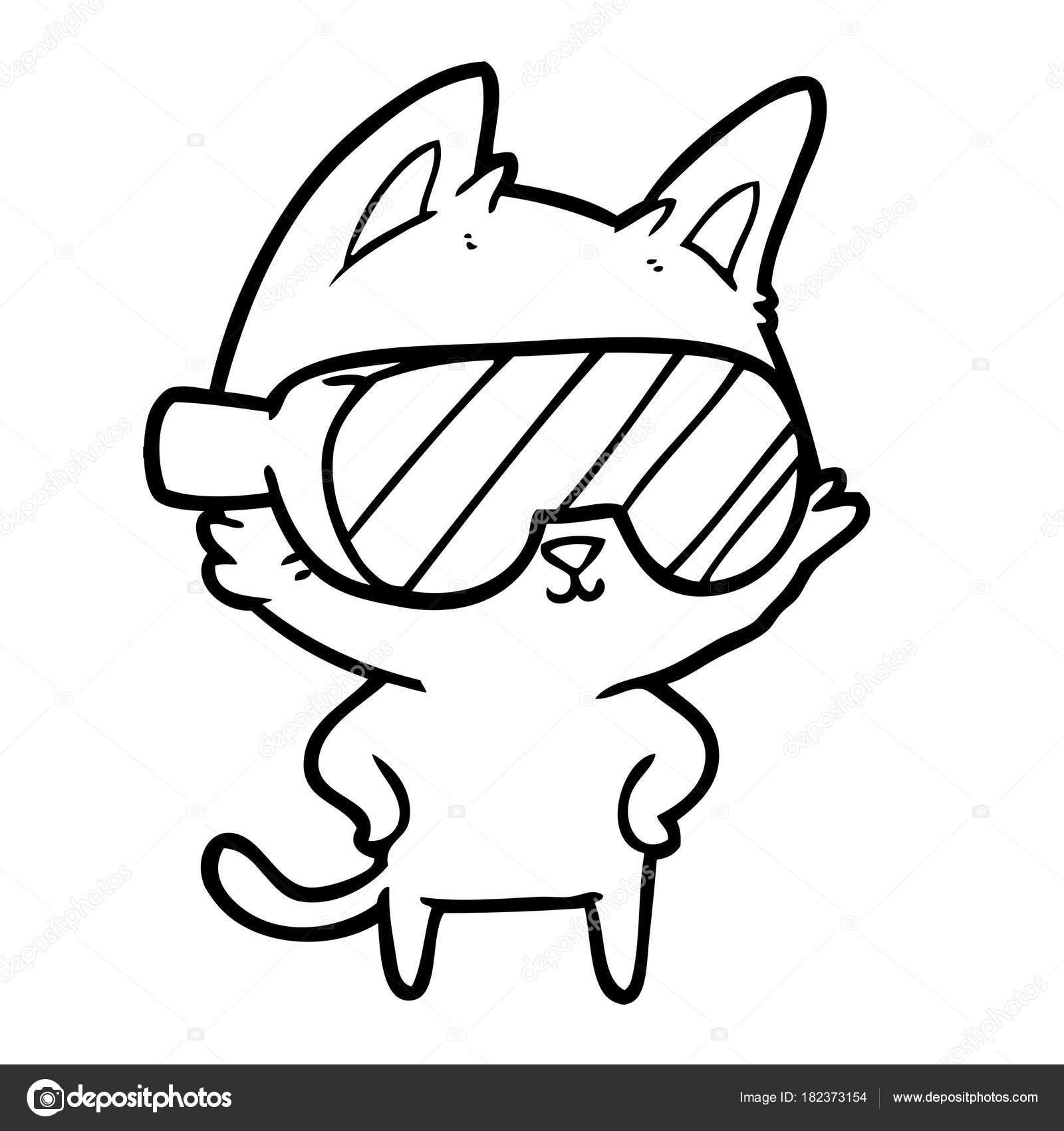 Chat dessin anim avec des lunettes sur les yeux image vectorielle lineartestpilot 182373154 - Desin de chat ...