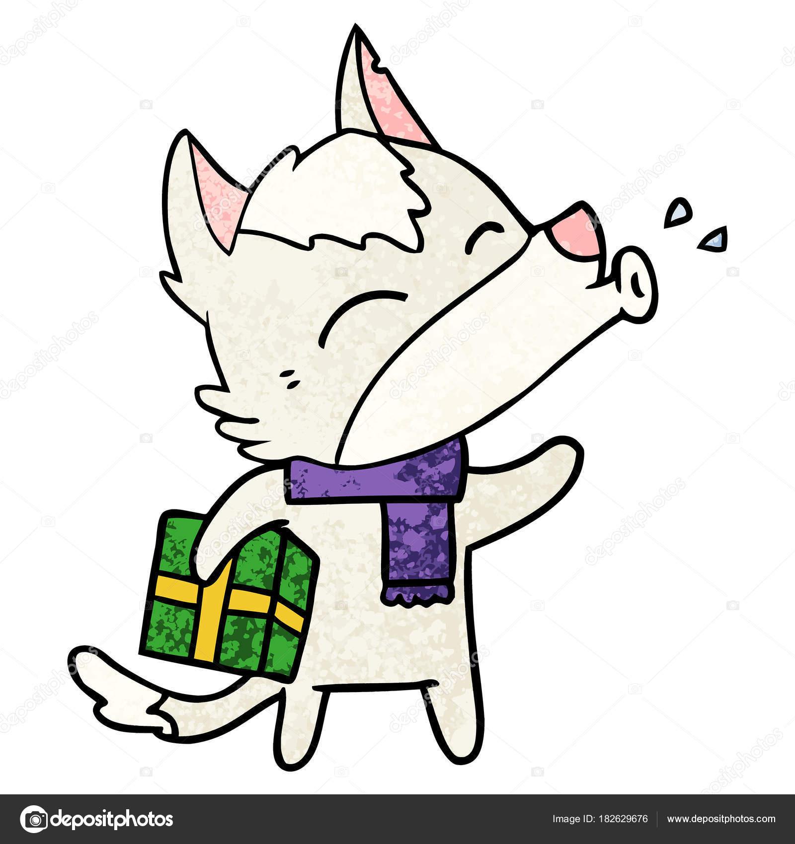 Heulender Wolf Mit Weihnachtsgeschenk — Stockvektor ...