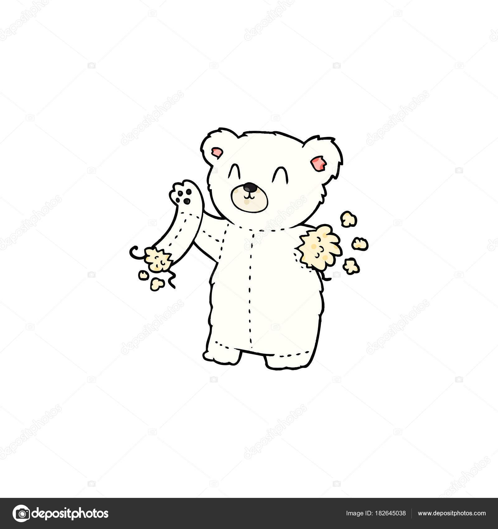 Peluche Ours Blanc Dessin Anime Avec Bras Dechire Image
