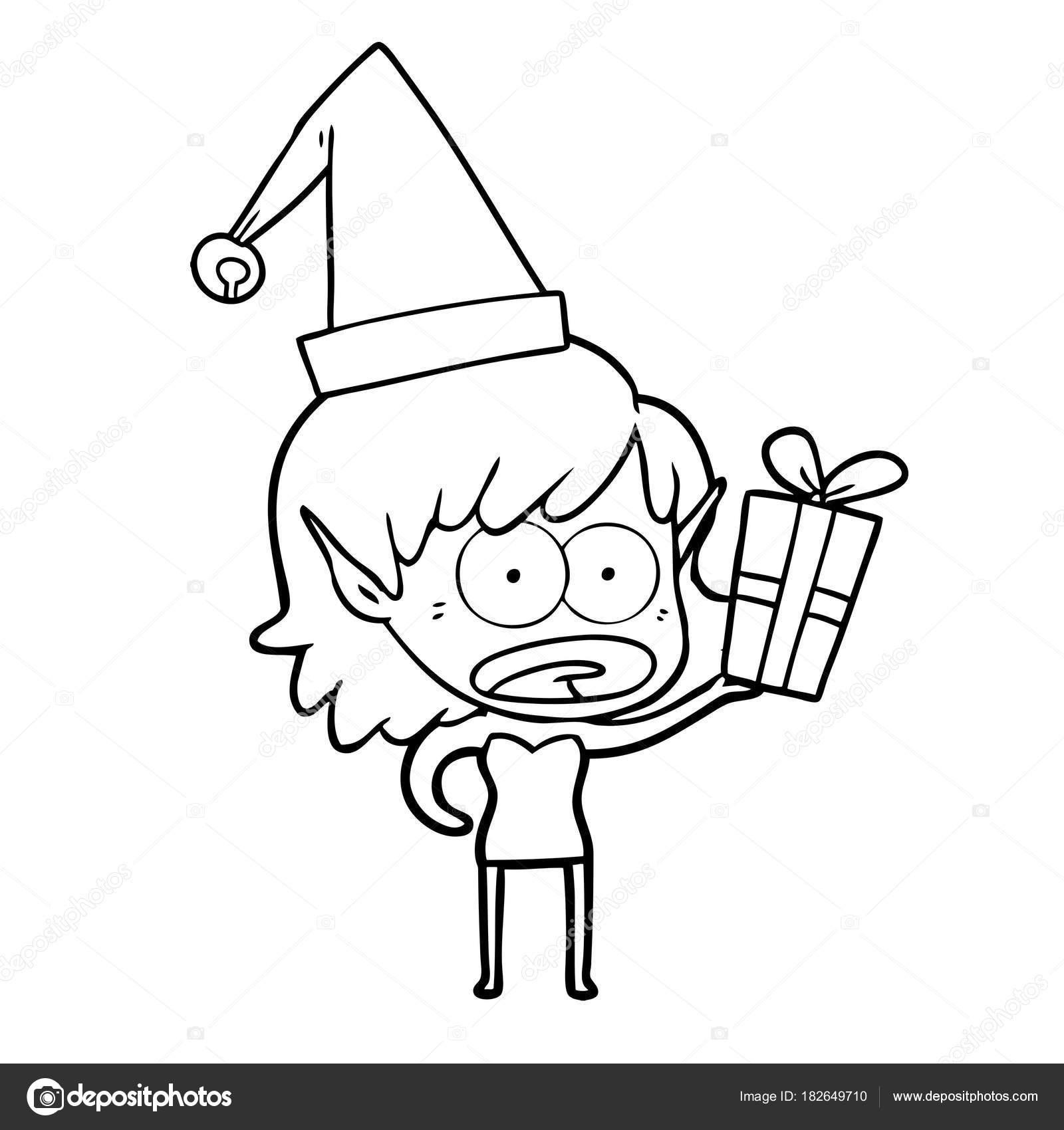 Sorprende Niña Elfo Navidad Historieta — Archivo Imágenes ...