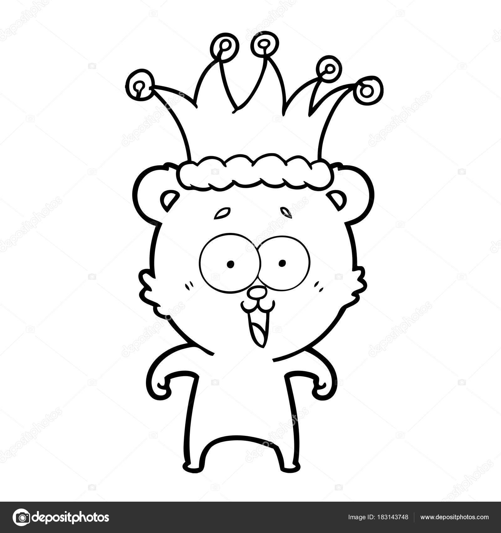 Ours Peluche Dessin Anime Portant Chapeau Riant Image Vectorielle