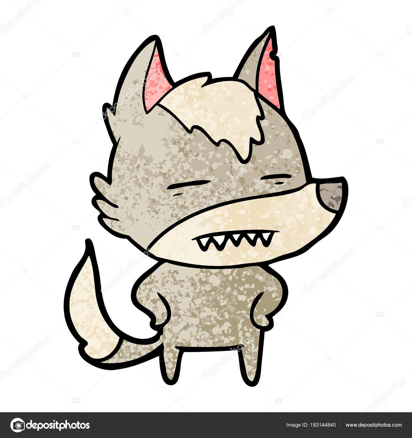 Imágenes Lobos Dibujos Animados Mostrando Dientes Lobo Vector