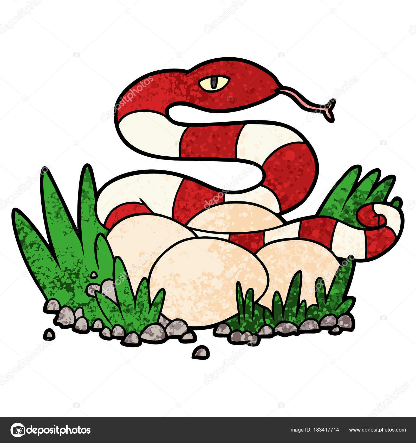 Serpent Dessin Animé Dans Nid Image Vectorielle