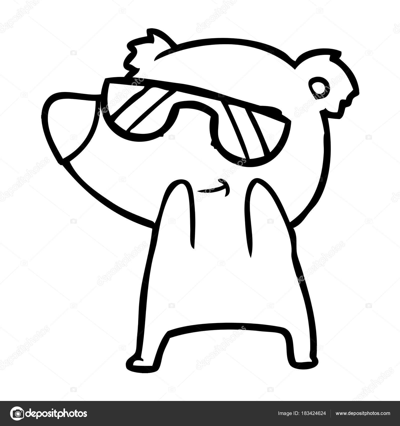 eecd505d30 Χαριτωμένα Κινούμενα Σχέδια Αρκούδα Φορώντας Γυαλιά Ηλίου — Διανυσματικό  Αρχείο