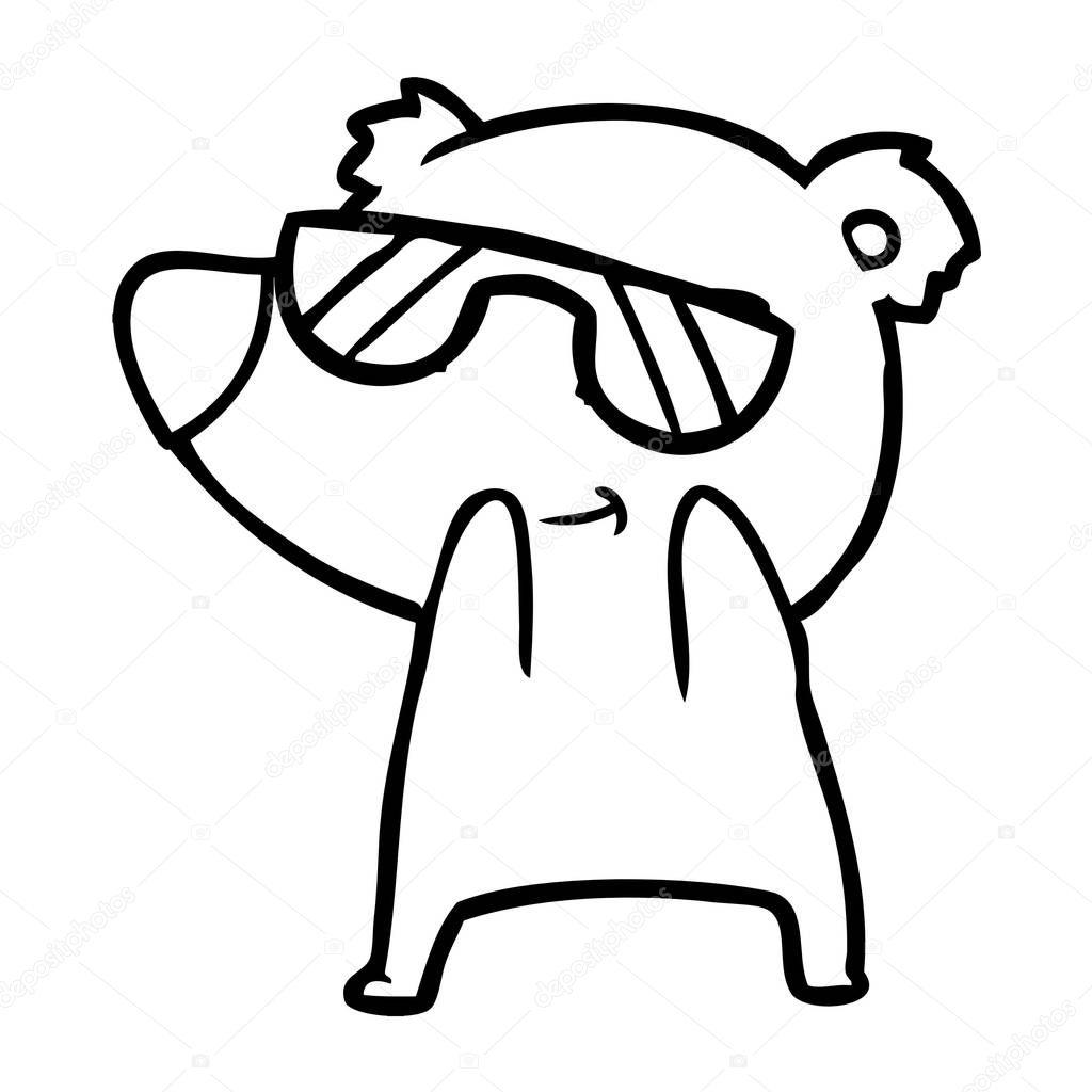 5d9ed61866 Χαριτωμένα Κινούμενα Σχέδια Αρκούδα Φορώντας Γυαλιά Ηλίου — Διανυσματικό  Αρχείο © lineartestpilot  183424624