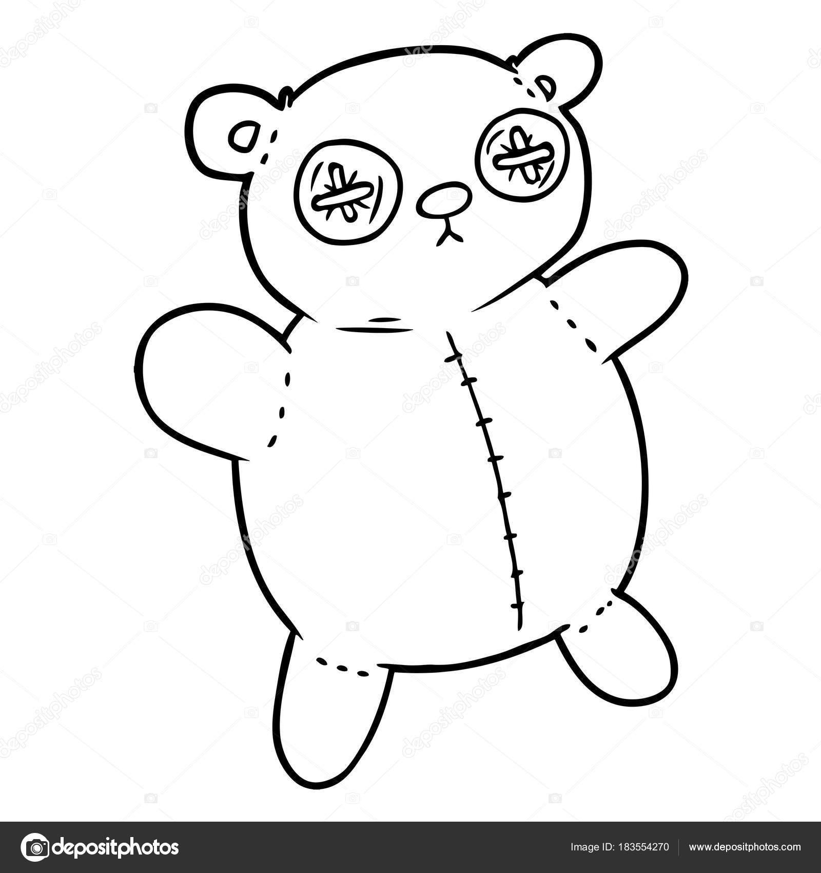 Vieux Ours Peluche Dessin Anime Image Vectorielle Lineartestpilot