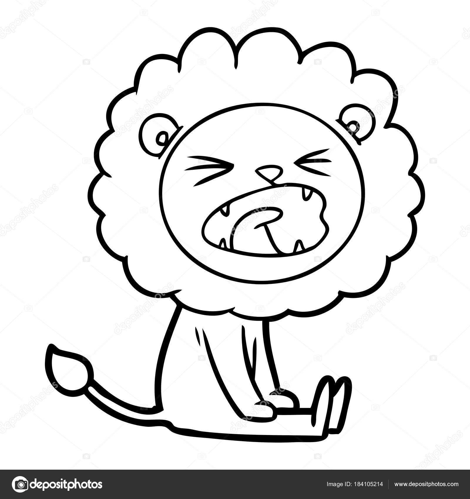 Vektorove Ilustrace Kreslene Rozzureny Lev Stock Vektor