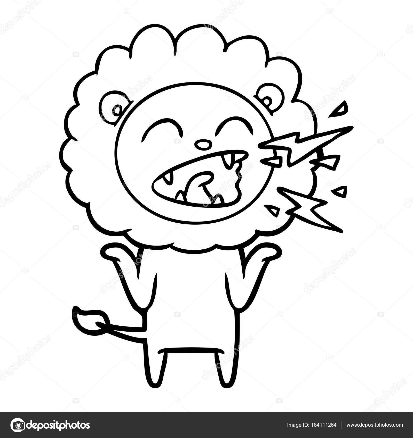 Vektorove Ilustrace Kreslene Rvouci Lev Stock Vektor
