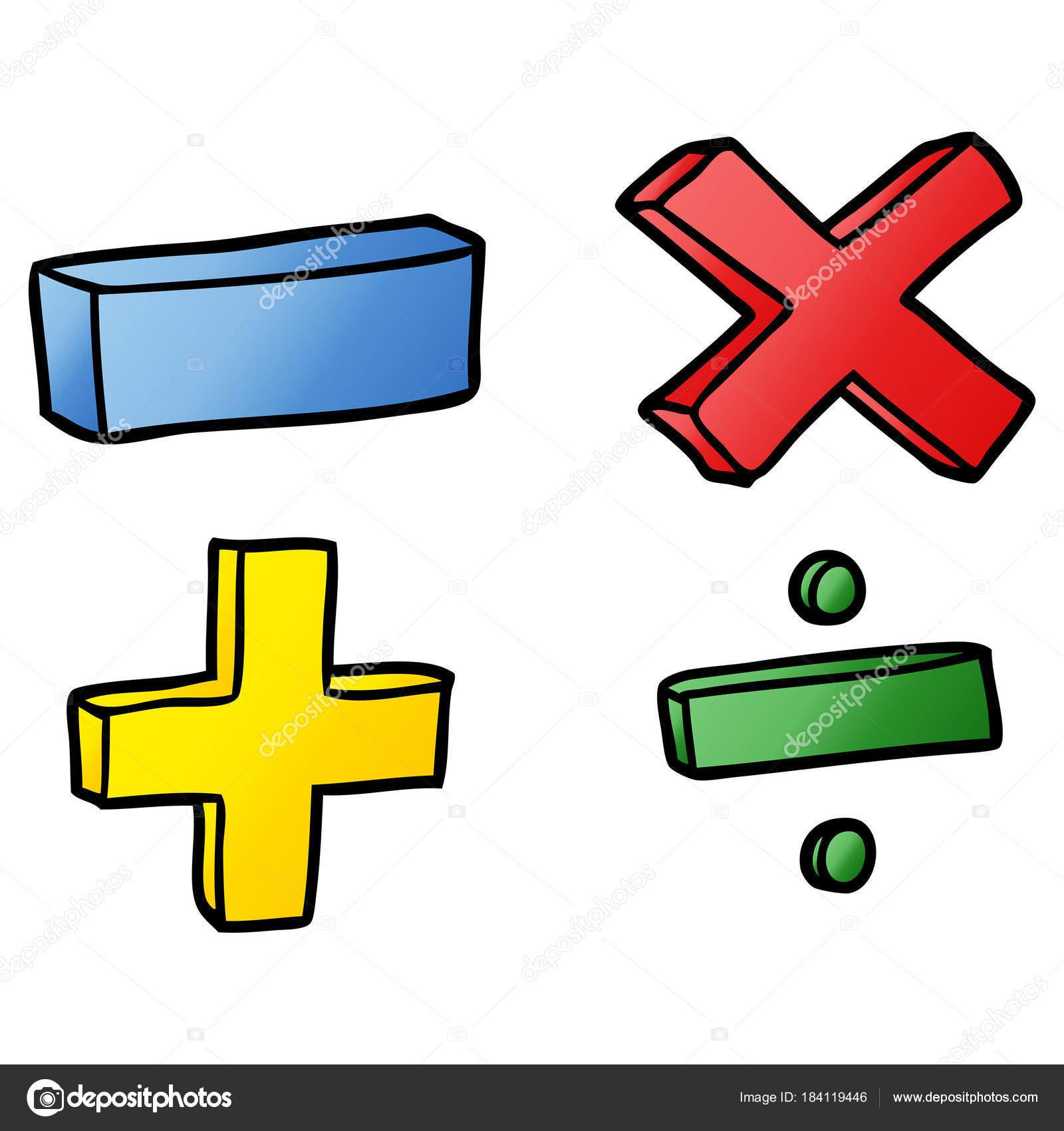 Ilustracion Vector Los Simbolos Matematicas Dibujos Animados