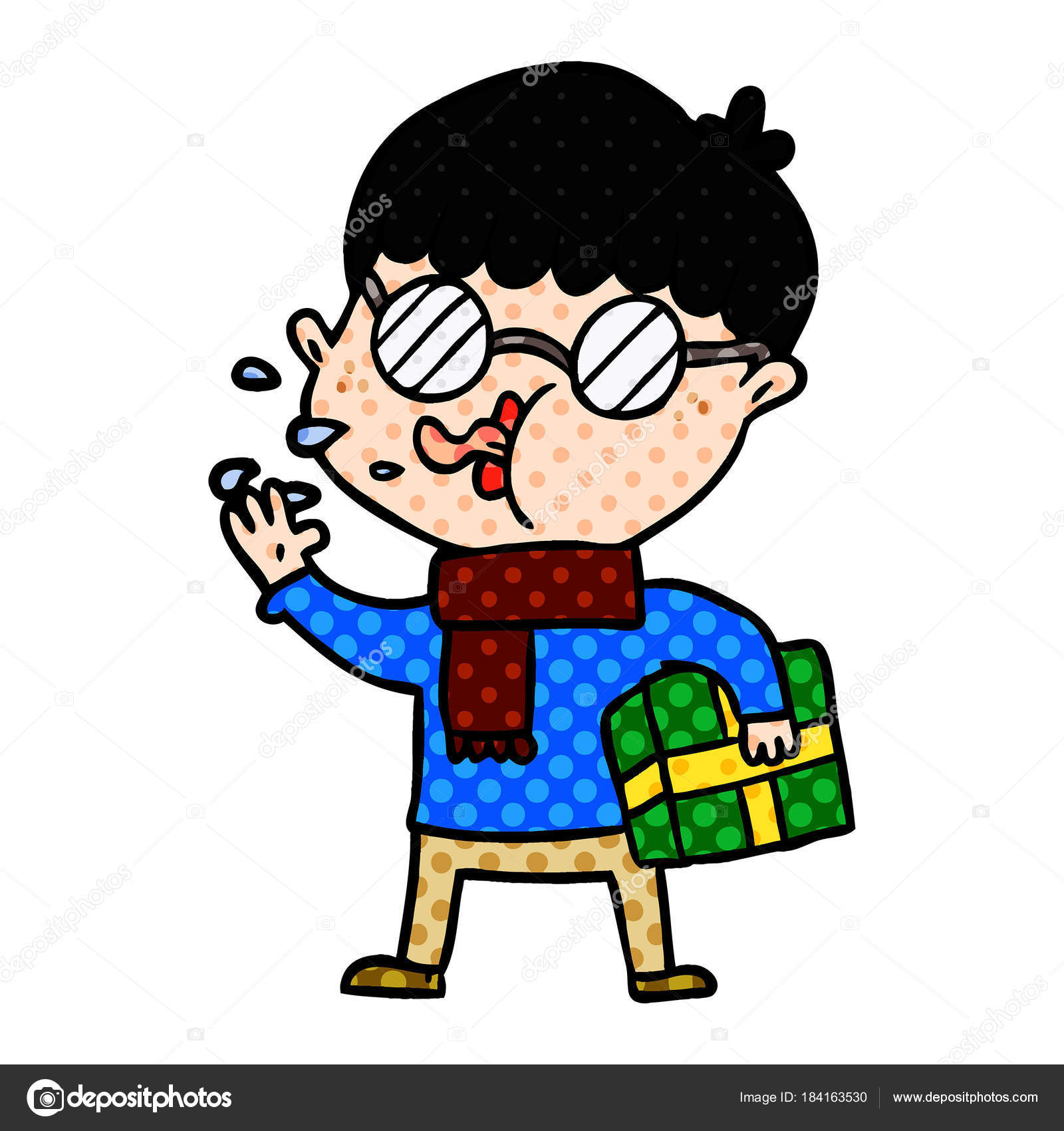 Cartoon Boy Wearing Spectacles Christmas Gift — Stock Vector ...