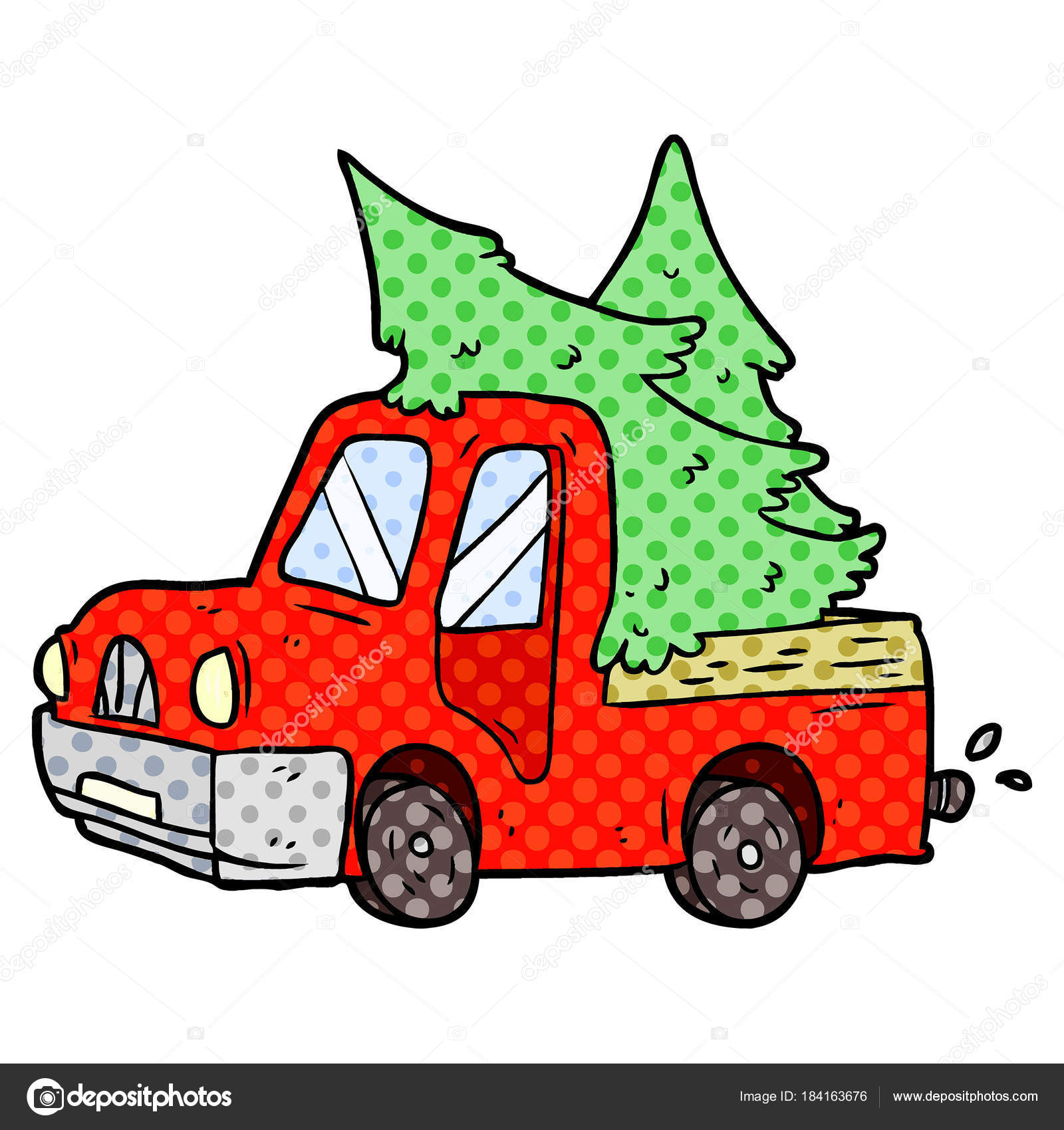 Dessin Animé Camionnette Transportant Des Arbres Noël